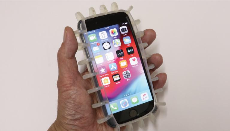 ストバンをつけたスマートフォン
